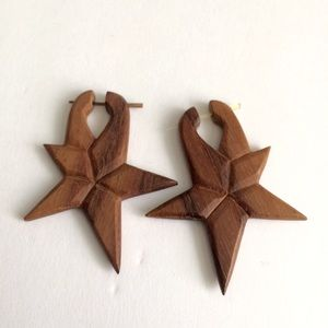 Jewelry - Sola wood hand carved wood earrings small stars